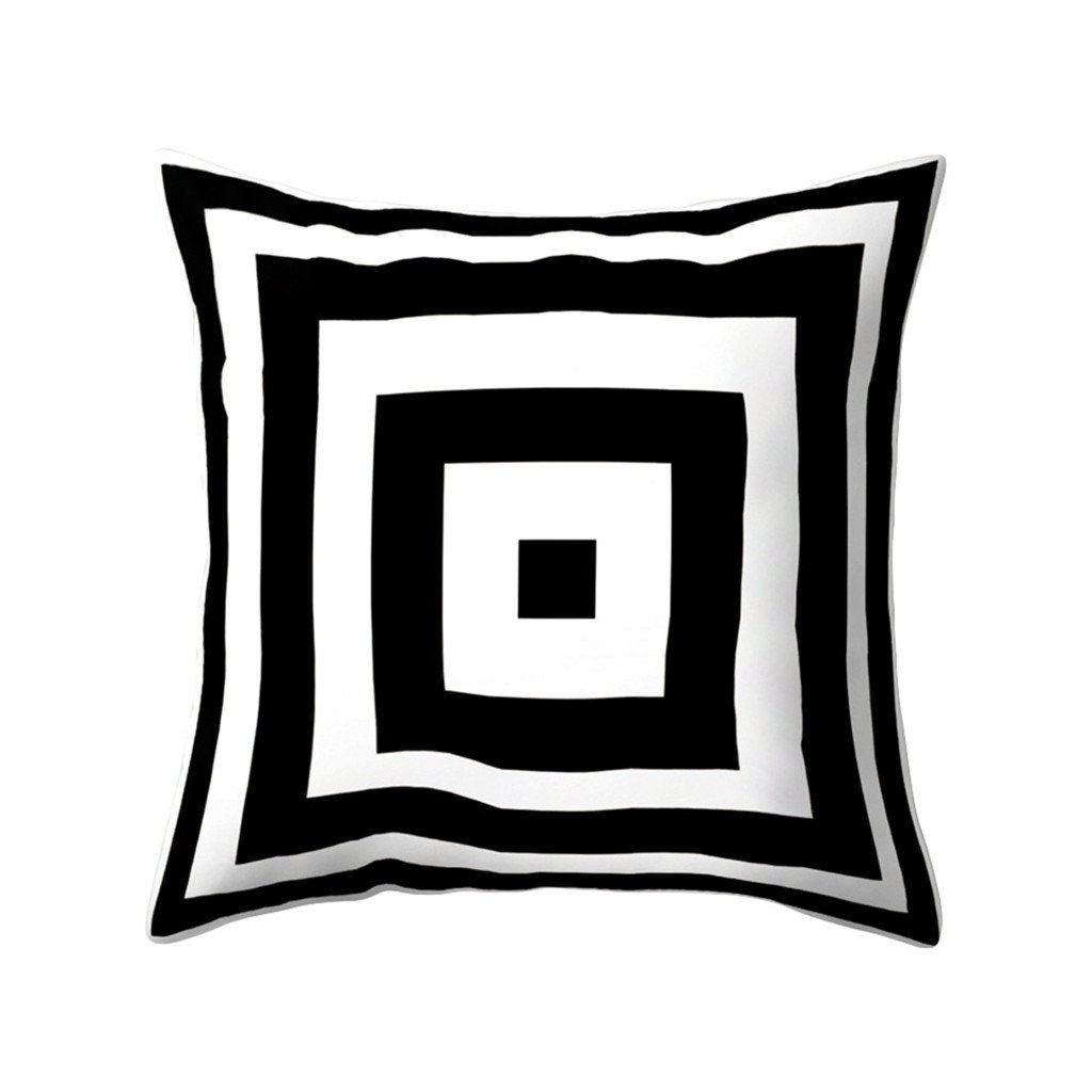 Black and White Geometric Peach Skin Throw Cover Pillow Cushion Square Case (11#) Everyday