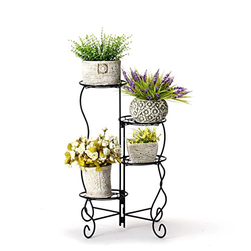 Worth 4-Tier UPGRADED HEAVY DUTY Plant Stand & Flower Pot Holder by Garden | Modern Indoor & Outdoor Home Décor | Weather Resistant (Black) VERY STURDY & WELL MADE by Worth