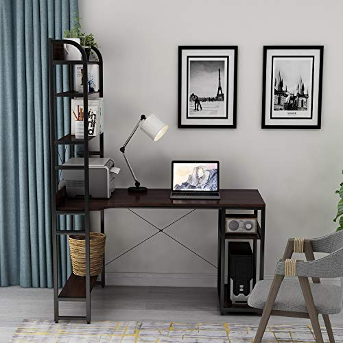 - Rhomtree Computer Desk with 4 Tier Storage Shelves Large L-Shaped Home Office Desk PC Laptop Writing Table Workstation with Hutch Bookshelf (Brown)