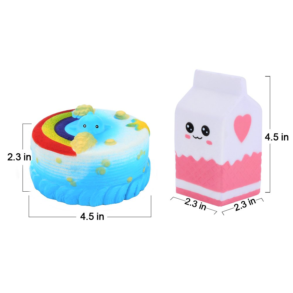 Yblntek Kawaii Jumbo Cake Milk Set Squishy Slow Rising Squishies Sweet Scented Squishy Toys Gift for Stress Relief