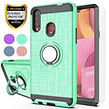"""YmhxcY Galaxy A20S Case,Galaxy A20S Phone Case with HD Screen Protector, 360 Degree Rotating Ring & Bracket Dual Layer Shock Bumper Cover for Samsung Galaxy A20S 6.5""""-ZH Mint"""