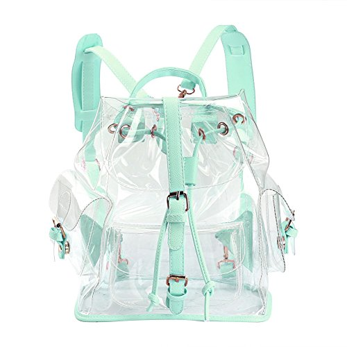 Zicac Summer Clear Backpack Cute Knapsack Satchel Transparent Stadium Approved Backpack (Green)
