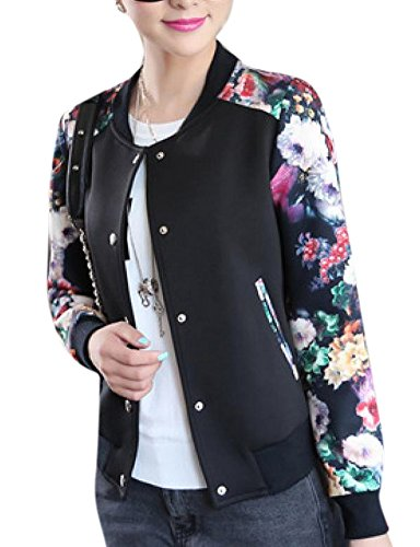 Lingswallow Womens Fashion Casual Floral Thicken Varsity Bomber Jacket (M US 2-4, Black)