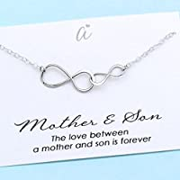 Mother and Son Necklace • Personalized Boy Mom Gift • Sterling Silver Double Infinity • Infinite Love