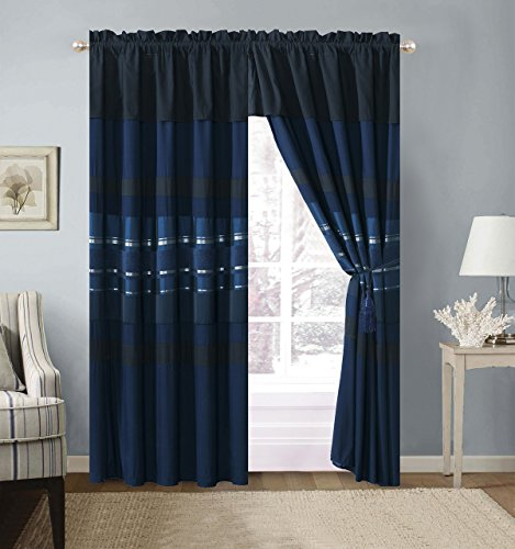 Curtain Chenille Set (Grand Linen 4 Piece Navy Blue/Black silver stripe Chenille Curtain set with attached Valance and Sheers)