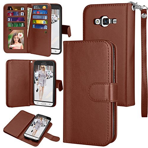 Njjex for Galaxy Sky Wallet Case, for Samsung Galaxy Amp Prime/Express Prime/Sol/ J3 /J3 V Case, PU Leather Flip [9 Card Slot] Kickstand Detachable Magnetic Phone Case Cover & Wrist Strap [Brown]
