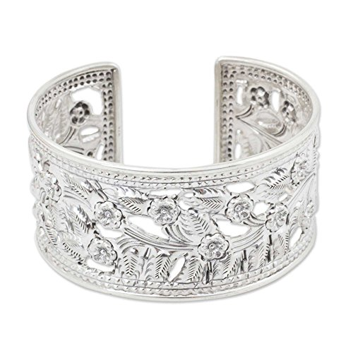 NOVICA .925 Sterling Silver Cuff Bracelet 'Floral Bliss' by NOVICA