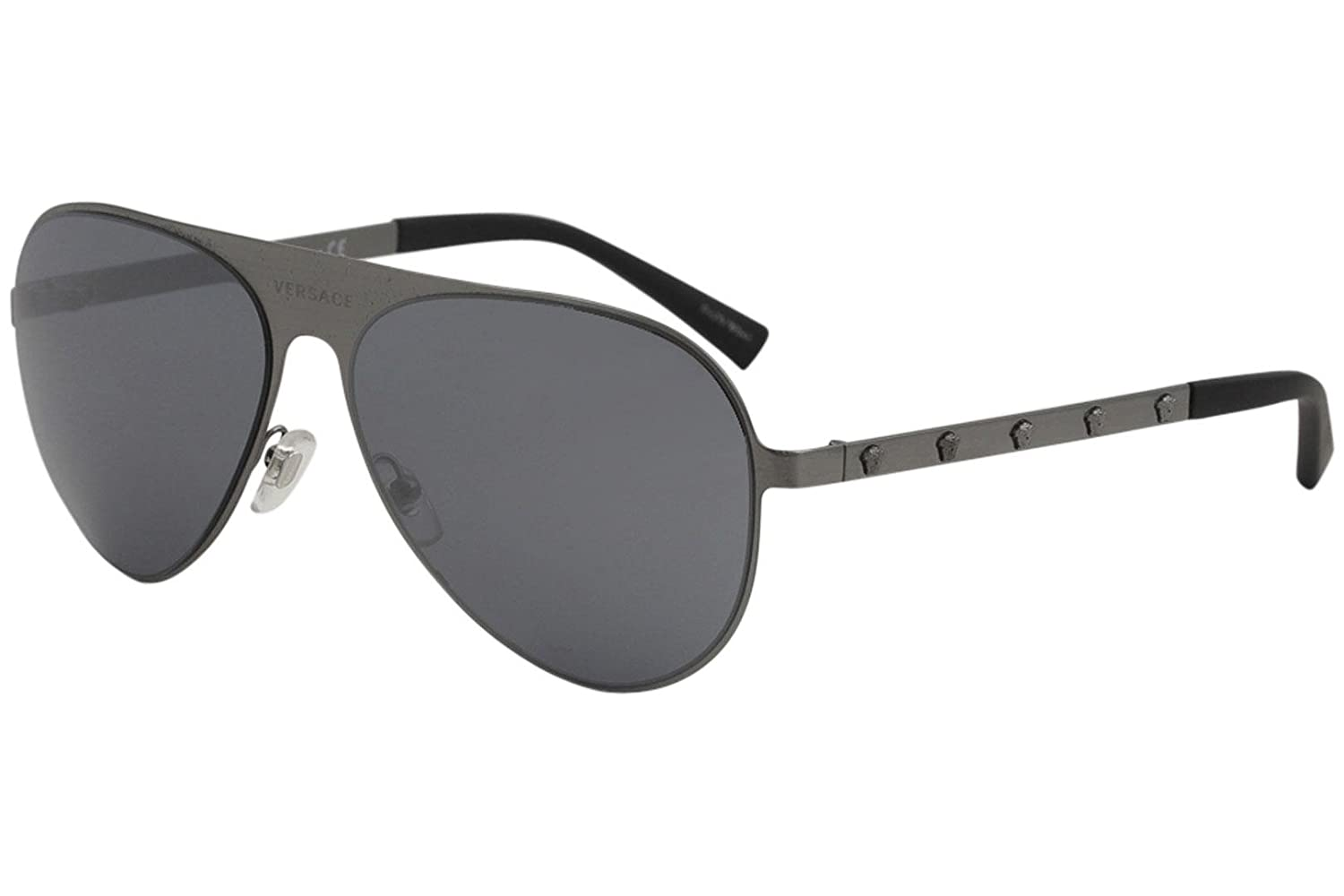 094d6dade2 Amazon.com  Versace Unisex VE2189 Brushed Gunmetal Grey Mirror Black One  Size  Clothing