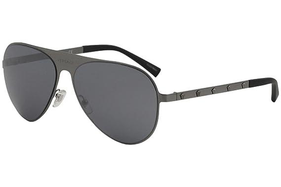 2be816521cd Amazon.com  Versace Unisex VE2189 Brushed Gunmetal Grey Mirror Black ...