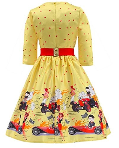 Dress s Comfy Women Printed Big Slim Puff Classic Hem Mid Length Yellow wvS5avqx
