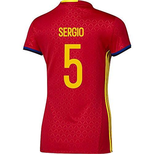 サイレント即席空虚Adidas SERGIO #5 Spain Women's Home Jersey UEFA FURO 2016 (Authentic name & number) /サッカーユニフォーム スペイン ホーム用 セルヒオ レディース向け