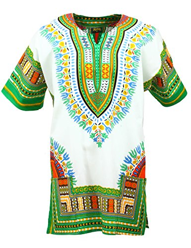 KlubKool Dashiki Shirt Tribal African Caftan Boho Unisex Top Shirt (White/Green,Medium)