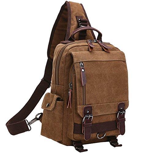 Berchirly Canvas Leather Crossbody Messenger Bag One Strap Sling Travel Hiking Chest Bag