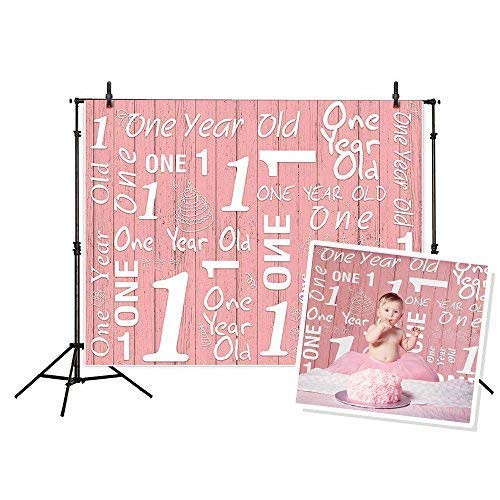 Funnytree 5X3ft 1st Birthday Photography Backdrop One Year Old Party Banner Rose Pink Wood Plank Background for Baby Shower Newborn Little Girl Princess Studio Photo Props Booth 1.5mx1m