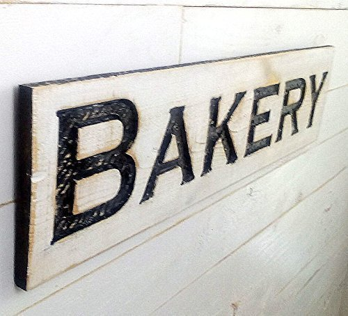 Bakery Sign Horizontal – 40×10 Carved in a Cypress Board Rustic Distressed Shop Advertisement Farmhouse Style Restaurant Cafe Wooden Wood