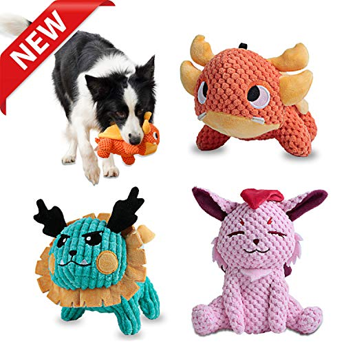 Als Ellan Latest Squeaky Stuffed Dog Toys Pack for Dogs, Durable Plush Chew Toys with Squeakers, Beef Flavored Stuffed…