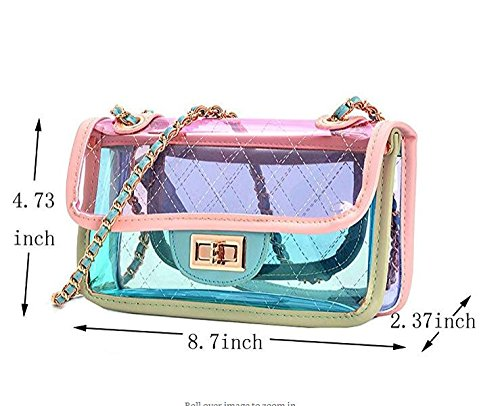 's main Women Color sac PVC Transparent embrayage à White sac main à bandoulière Sac main Summer Cross à Gelée sac à XwaYfqnp