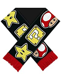 Official Super Mario Bros Star Mushroom and Question Block Knitted Scarf