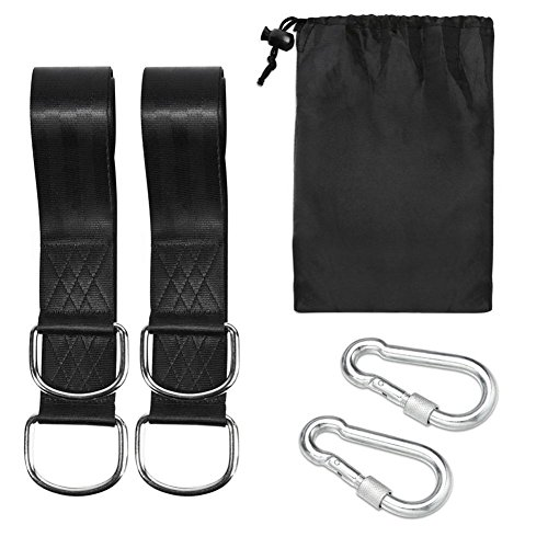 Anne210 Tree Swing Straps Hanging Kit (Set of 2) - 1.5M5CM Long with Two Zinc Alloy Carabiners - 2000Lbs Break Strength - for Swings and Hammocks. by Anne210 (Image #1)