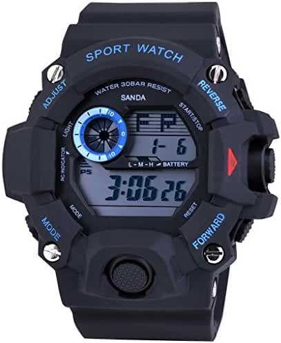 Cool Summer LED Digital Electronic Outdoor Waterproof Wrist Sport Watch rubber For Boys Black+Blue