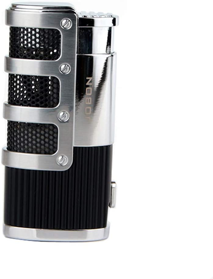 Butane Lighter Triple 3 Jet Flame Torch Lighter Refillable Windproof Lighter with Punch - Butane Not Included