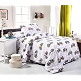 One Twin Duvet Cover and One Pillowcase, Bedding Sets for Kids, Ultra Plush & Comfortable, Modern Bicycle Pattern, 100% Cotton Twin Size