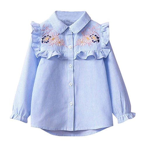 G-real Button Tops, Toddler Girls Kids Lapel Collar Ruffle Striped Blouse Floral Embroidery Shirt For 3-7T (Blue, (Lapel Collar Blouses)