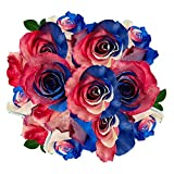 FRESH Tinted Roses| Red, Blue and White| 25 stems (Mars Rose) Magnaflor - XXL Blooms| Bunch| 10-12 days vase Life