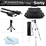 Starter Accessories Kit For The Sony HDR-CX240, HDRCX240/B, HDRCX240/L, HDR-PJ275, HDR-AS30V, HDR-AS10, HDR-AS15 Action Video Camera Includes Deluxe Carrying Case + 50 Tripod With Case + Micro HDMI Cable + Mini TableTop Tripod + MicroFiber Cleaning Cloth