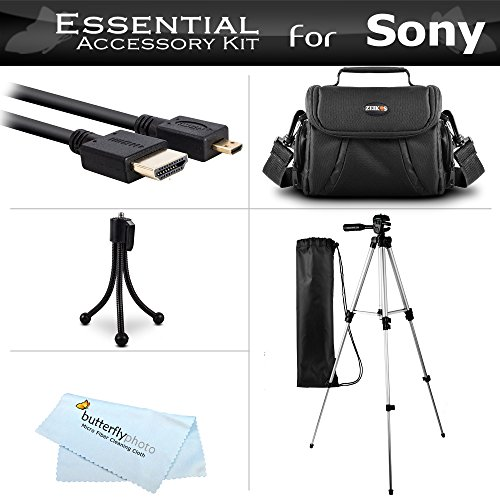 Starter Accessories Kit For The Sony HDR-CX240, HDRCX240/B, HDRCX240/L, HDR-PJ275, HDR-AS30V, HDR-AS10, HDR-AS15 Action Video Camera Includes Deluxe Carrying Case + 50 Tripod With Case + Micro HDMI Cable + Mini TableTop Tripod + MicroFiber Cleaning Cloth by ButterflyPhoto