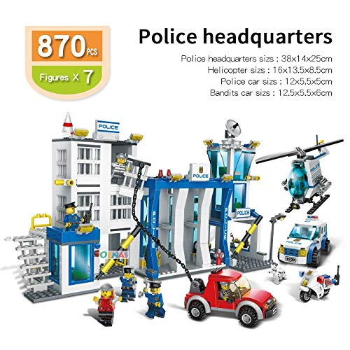 PampasSK Blocks - Educational Assembled Police Helicopter Prison Mobile Police Station Plastic Building Blocks Toys for Children 1 PCs