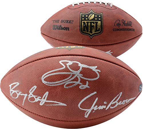 (Emmitt Smith, Jim Brown, Barry Sanders Autographed Duke Pro Football - Fanatics Authentic Certified - Autographed Footballs )
