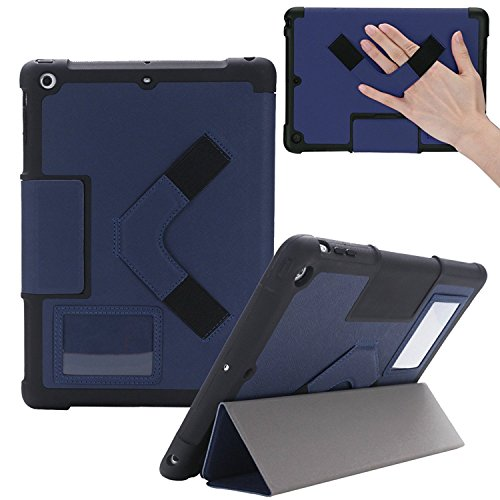 """NutKase 2018 6th Generation and 2017 5th Gen, Best Shockproof 9.7"""" iPad Case for Models A1893, A1954, A1822, A1823. Rugged Protective Folio Case for Apple iPad Ideal for Schools and Students Dark Blue"""