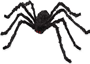 VENTIGA 6.6ft/79 Inch Black Giant Hairy Spider Halloween Decorations Outdoor Yard Decor, Vivid Red Eyes with Foldable Legs
