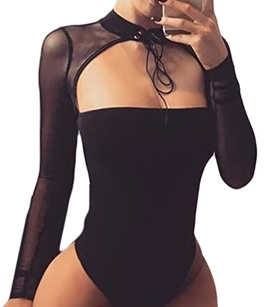 62f78beebe Amazon.com  Velius Women Sexy Choker Bandage Strapless Long Sleeve Mesh  Bodysuit Party Clubwear  Clothing