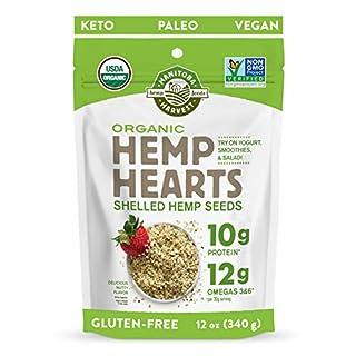 Manitoba Harvest Organic Hemp Hearts Shelled Hemp Seeds, 12oz; 10g Plant-Based Protein & 12g Omegas per Serving, Whole 30 Approved, Vegan, Keto, Paleo, Non-GMO, Gluten Free