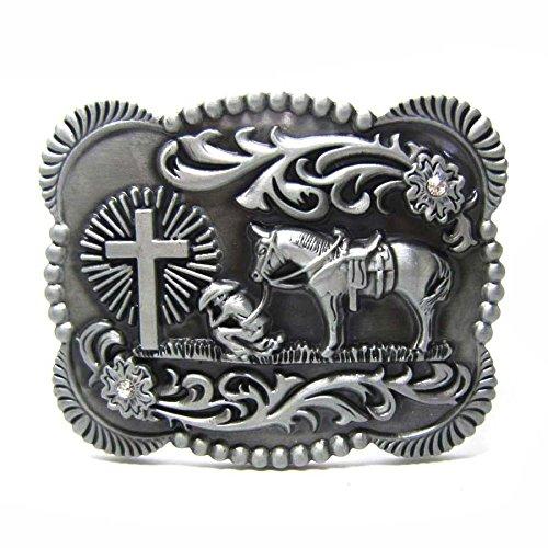 Crystal Cross Buckle Belt - TAKELA Men Vintage Silver Native 3D Cowboy Church Prayer Cross Horse Crystal Belt Buckle