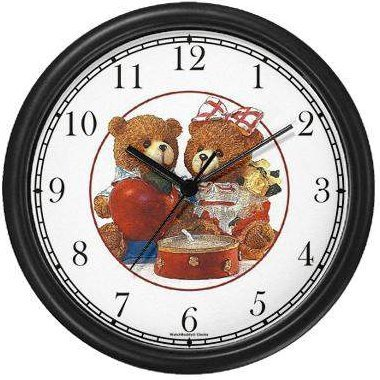 Boy and Girl Teddy Bears (JP6) Wall Clock by WatchBuddy Timepieces (Hunter Green Frame)
