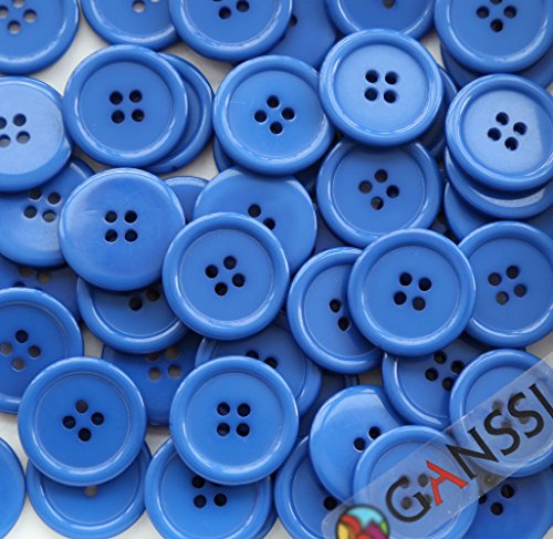 GANSSIA 1'' (25mm) Sewing Flatback Buttons Dark Blue Colored Pack of 50