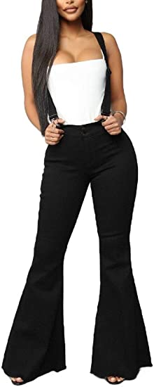 Romancly 女性デニムパンツコンフィシックハイウエストブーツカット生ヘムジャンプスーツパンツ