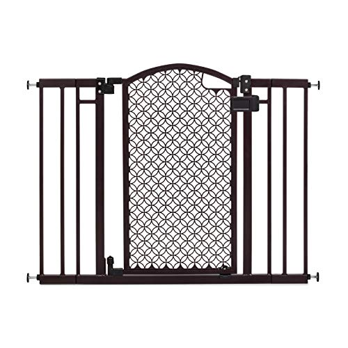 "Summer Modern Home Decorative Walk-Thru Baby Gate, Metal with Bronze Finish, Decorative Arched Doorway – 30"" Tall, Fits…"