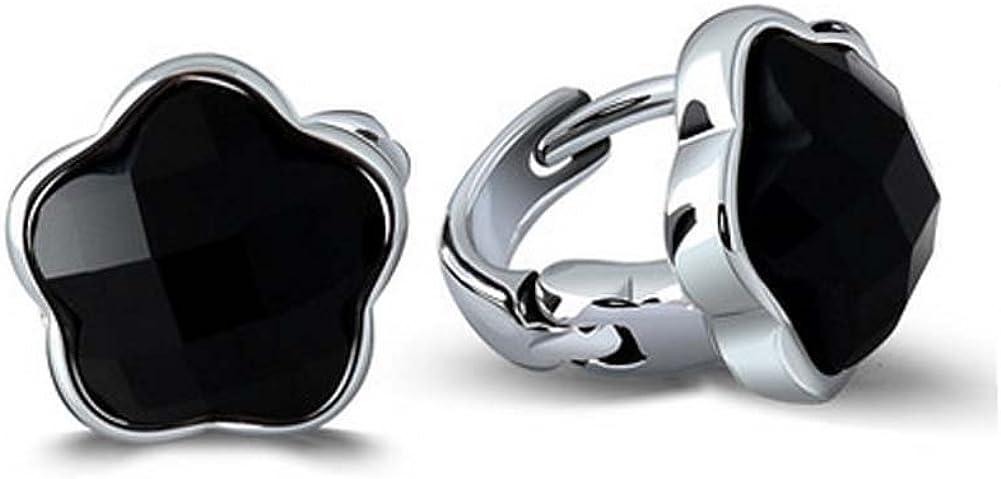 Jade Ángel 925plata de ley Star synthetic negro Onyx pendientes
