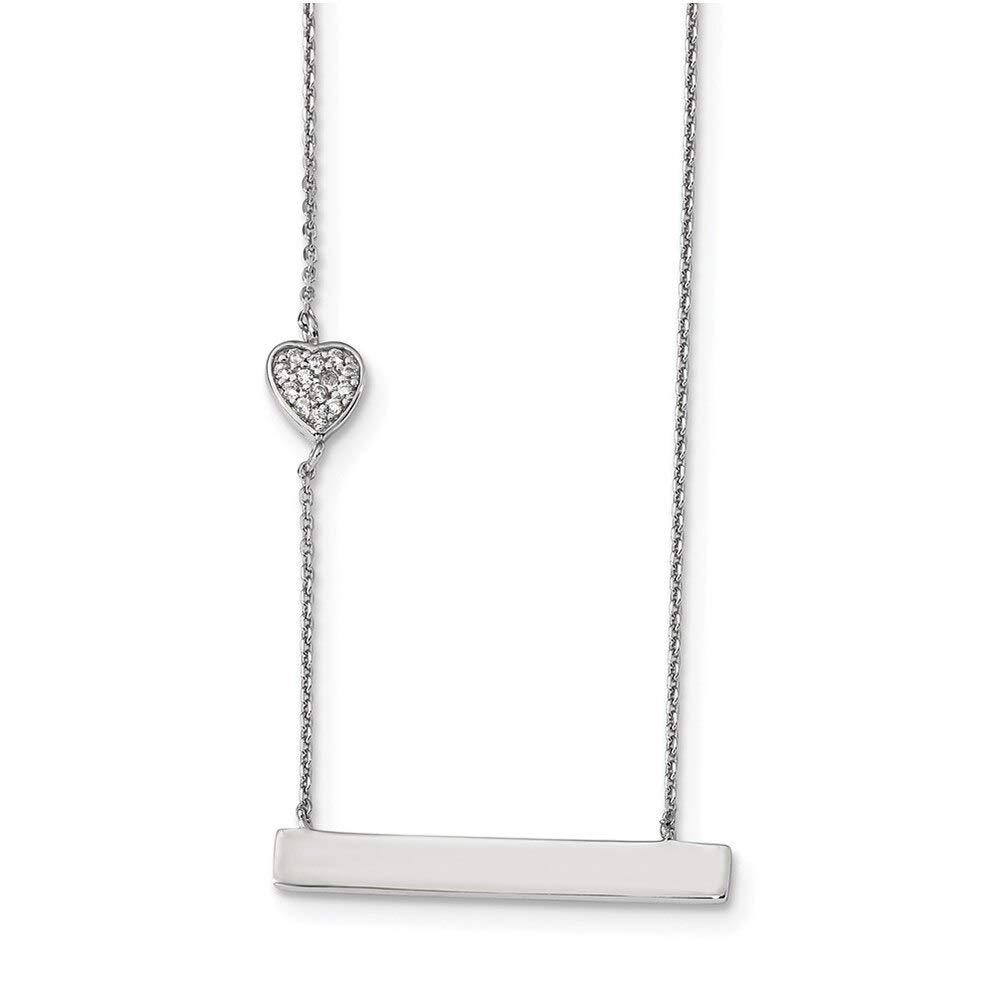 Lex /& Lu Sterling Silver w//Rhodium CZ Heart Necklace 16 LALQG4357-16