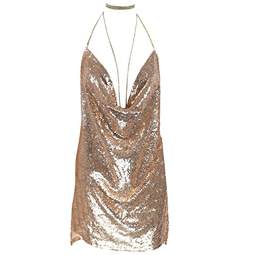 Dolcasa Women Backless Halter Cowl Neck Sequined Bodycon Club Party Mini Dress]()