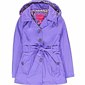 London Fog Girls' Radiance Trench Coat - Purple - 14/16