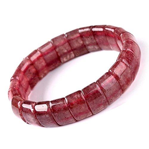Jan&Dee Natural Genuine Semi-Precious Strawberry Quartz Crystal Bracelet Elastic Stretch (Large Size)