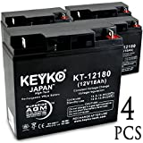 X-Treme XB-600 12V 18Ah SLA Sealed Lead Acid AGM Rechargeable Replacement Battery Genuine KEYKO (W/ L1 Nut & Bolt Terminal) - 4 Pack