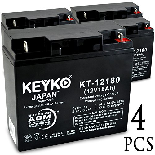 X-Treme XB-600 12V 18Ah SLA Sealed Lead Acid AGM Rechargeable Replacement Battery Genuine KEYKO (W/ L1 Nut & Bolt Terminal) - 4 Pack by KEYKO