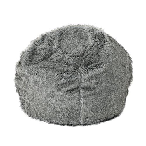 Christopher Knight Home Laraine Furry Glam Dark Light Grey Streak Faux Fur 3 Ft. Bean Bag (Long Bean Bag Fur)