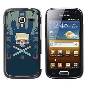 LECELL--Funda protectora / Cubierta / Piel For Samsung Galaxy Ace 2 -- Cráneo del cigarrillo --